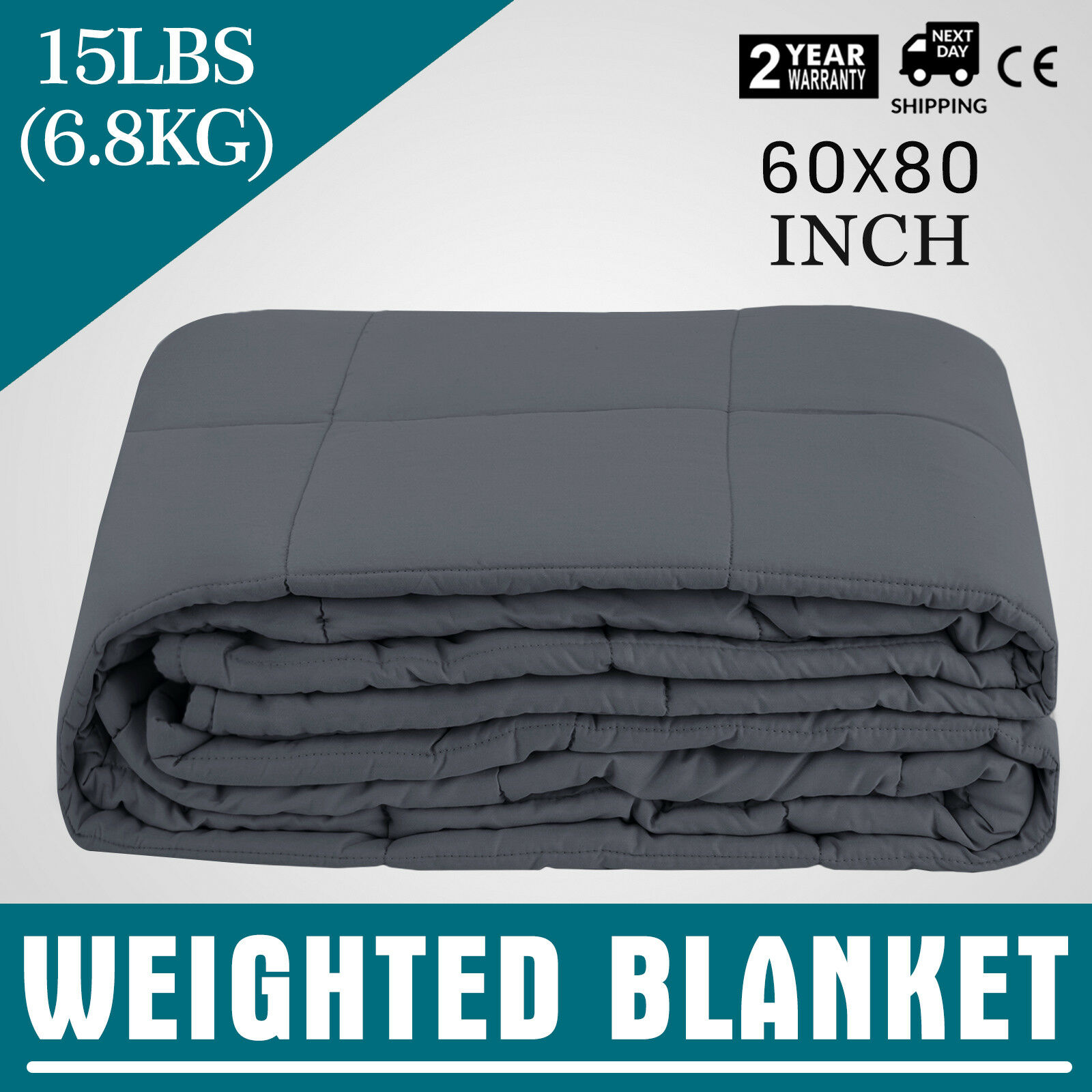 Weighted Blanket by for Adults, 15 lbs, 60 X 80 Inches