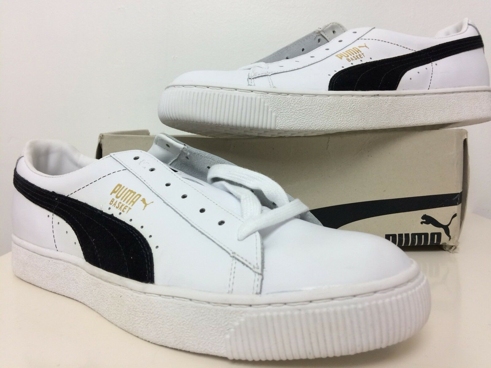NEW IN BOX PUMA Men's White & Black BASKET Low Top Sneaker Size US 13