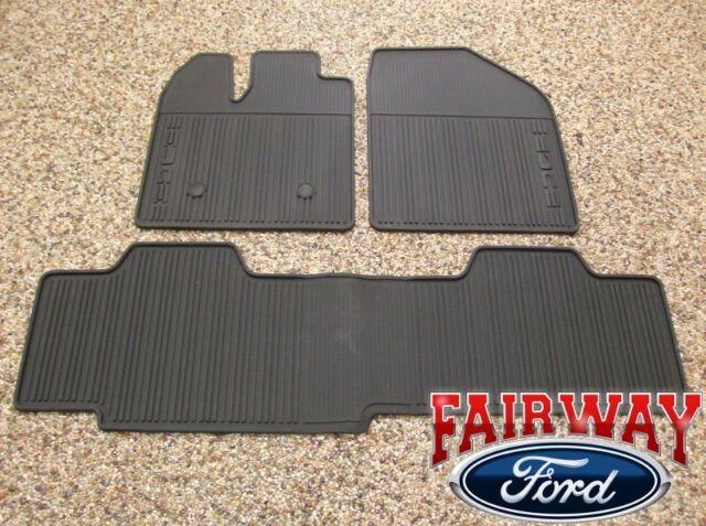2011 thru 2014 Edge OEM Genuine Ford Black Rubber All Weather Floor Mat Set 3-pc