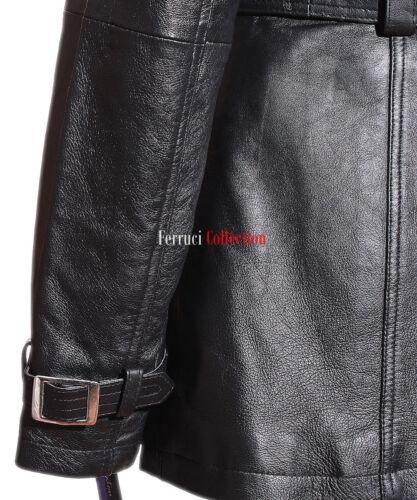 Paris Black Ladies New Smart Designer Real Lambskin Leather Jacket Trench Coat