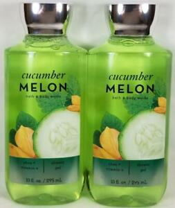 Bath-Body-Works-CUCUMBER-MELON-Ultra-Shea-Shower-Gel-Vitamin-E-10-oz-Lot-of-2