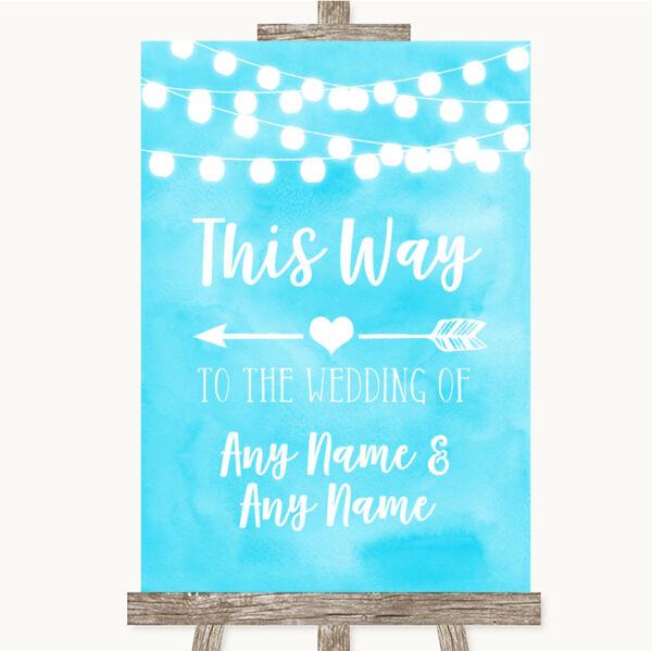 2019 Moda Aqua Sky Blue Acquerello Di Luci In Questo Modo Freccia Sinistra Personalizzato Matrimonio Segno Colore Veloce