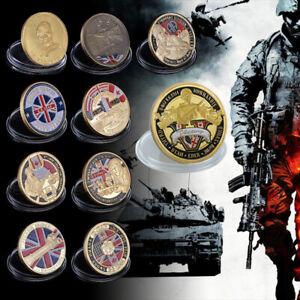 UK Flag Logo Flat Gold Challenge Coin
