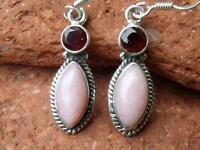 Pink Opal & Garnet 925 Sterling Silver Earrings Jewellery Silverandsoul