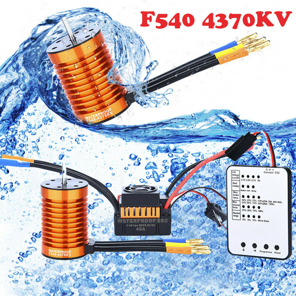 F540 4370KV Brushless Motor+45A ESC+Program Card  For 1 10 RC Racing Car Boat MI