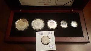 2003-Canada-5-Coin-Silver-Maple-Leaf-Hologram-Set-With-Box-1926-Canada-Nickel