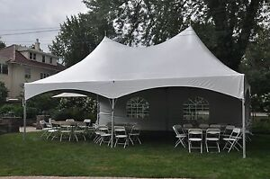 Image is loading NEW-20-x-30-White-Canopy-Tent-High- & NEW 20 x 30 White Canopy Tent High Peak Frame Tent Party Event ...