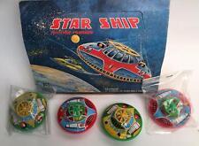 SET OF TWO VINTAGE JAPAN TIN STAR SHIPS HOKARI FLYING SAUCER OLD STOCK