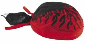 Red-Black-Flames-Vented-Sweatband-Durag-Head-Wrap-Biker-Cap-Bandanna-Mesh