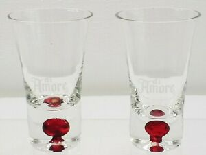 "Di Amore Cordial Shot Glass Fluted Red Bubble Handblown 3 1/2"" Set Of 2"