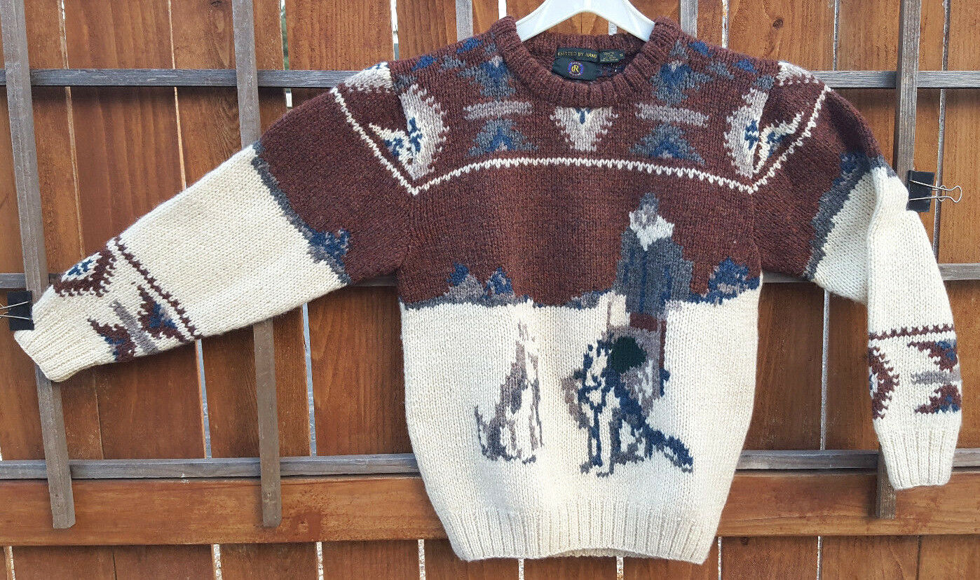 CLUB ROOM Sweater-S-100% Wool-Knitted by Hand-Dog Sled-Husky-Winter-Geometric