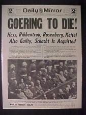 VINTAGE NEWSPAPER HEADLINE~WORLD WAR 2 GERMAN NAZIS GUILTY NUERNBERG TRAIL WWII~