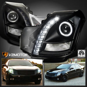 2003 2007 Cadillac Cts Halo Smd Led Projector Headlights Black Left