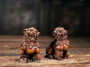 China Natural Boxwood Carve Fengshui Foo Fu Dog Guardion Door Evil Lion Statue