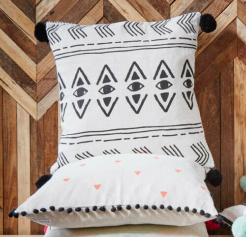 """FILLED Native American Eye Black Pom Poms Cushion Cover Hand Printed Linen 18/"""""""