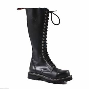 Angry Zip in in pelle buche nero acciaio Ranger fibbia Boots con Itch 20 Army punta Punk rx76RWr4n