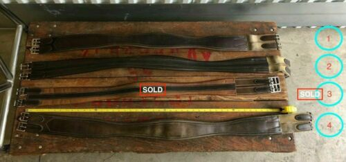 All Elastic-Leather In Good Condition 4 Sizes Long Leather Horse Saddle Girths