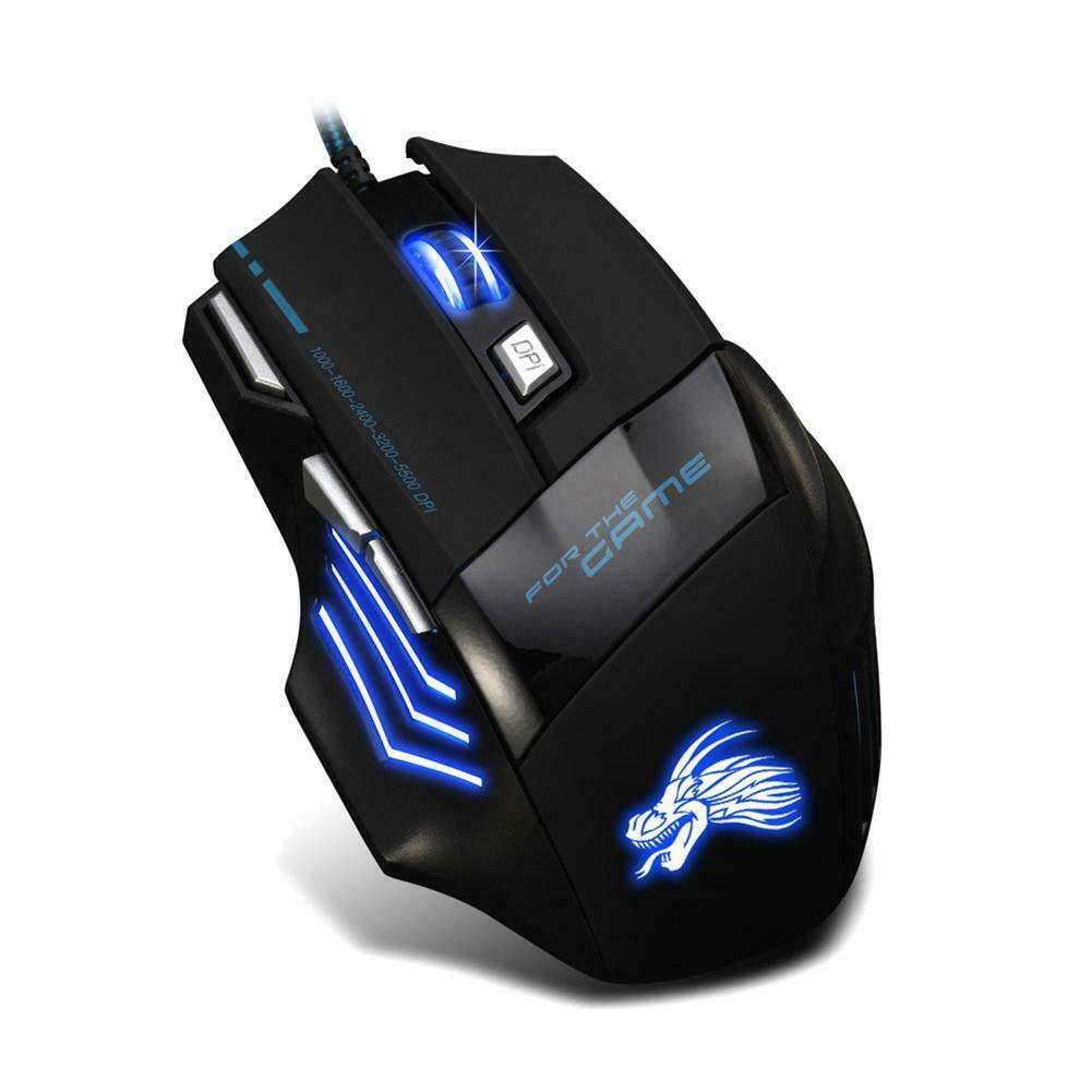 A907 Brave669 7 Buttons 1200-5500DPI USB 2.0 Multicolor Lighting Wired Computer Gaming Mouse