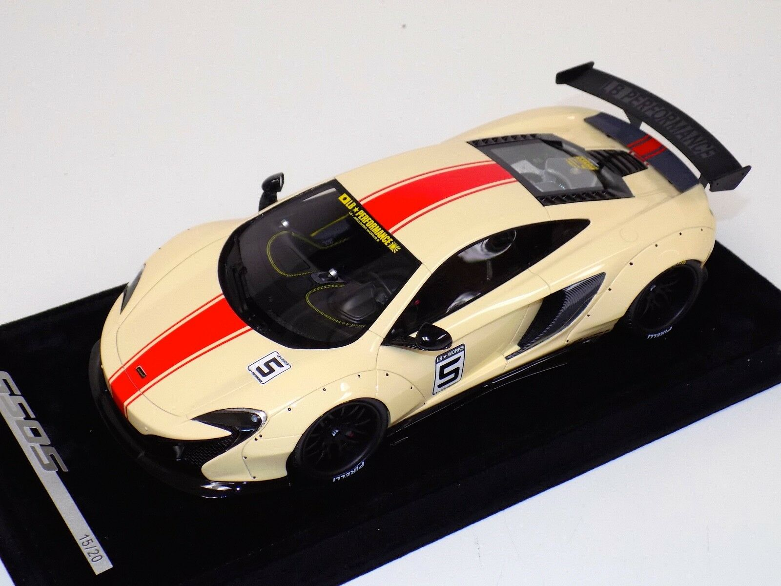 1/18 AB Models McLaren 650 S LB Performance Liberty walk Biege Red Stripe