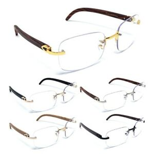 230dedba7 LUXE DASHER RIMLESS SQUARE SUN EYE GLASSES CLEAR LENSES METAL WOOD ...