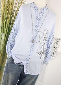 ITALY-MODA-Tunika-PAISLEY-Hemd-ORNAMENT-Schrift-Bluse-AZUR-Blau-Shirt-M-L-38-40
