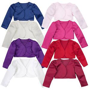 Image is loading Girls-Bolero-Jacket-White-Cream-or-Burgundy-Wedding-