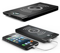 Black Qi Wireless Charger Pad 4000mah Portable Battery Power Bank For Cell Phone