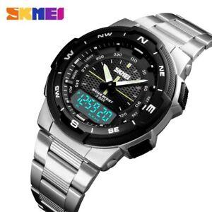9d6cdaf6502c La imagen se está cargando Reloj-SKMEI-1370-Moda-Hombre-Acero-Dual-Time-