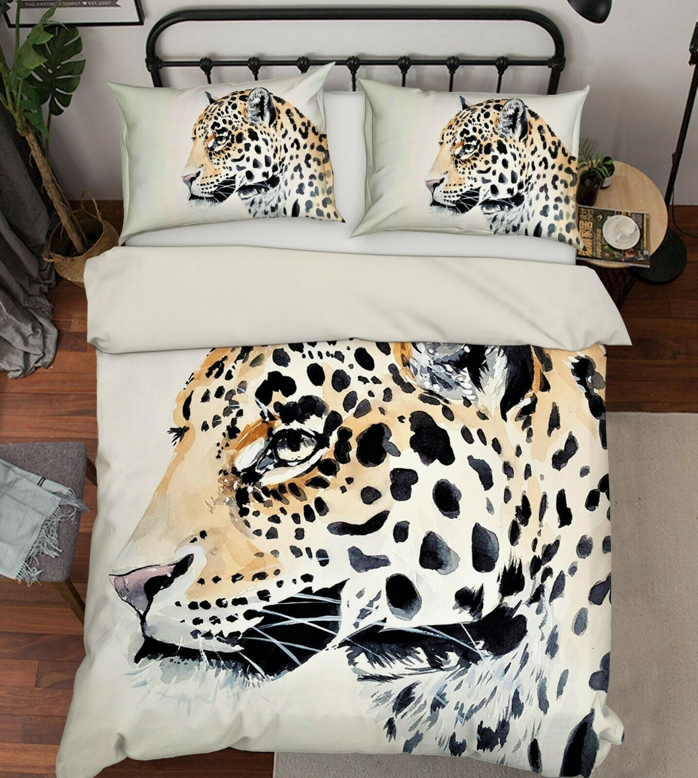 3D Leopard R147 Animal Bett Pillowcases Quilt Duvet Startseite Königin König Zoe