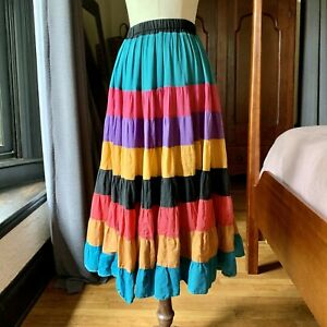 VINTAGE 60's 70's Mexican Long Colorful Circle Skirt WOW S/M