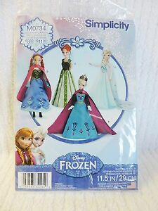 Simplicity-Doll-Clothing-Sewing-Pattern-Frozen-Elsa-M0734-Anna-Dress-Fits-11-5-034