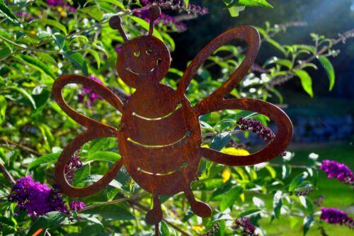 Rostdeko Biene auf Stab groß Rost Edelrost Deko Gartendeko Metall Rostfigur