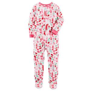 ad15b90c8997 Details about Carter s NWT Kid Girl 10 14 Fleece Footed Pj Christmas  Blanket Sleeper