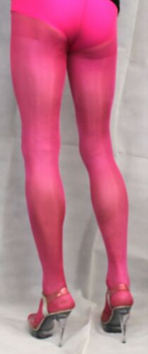 2 Pairs Fuchsia 40 Denier High Quality One Size Shimmer Metallic Effect Tights