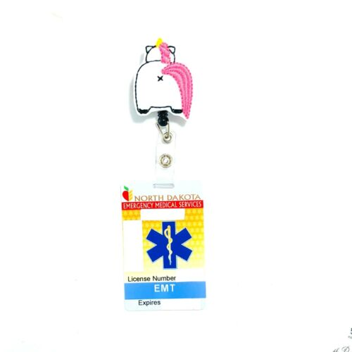 Unicorn Butt Retractable Badge Reel Holder Clip Pull ID Lanyard Accessory Charm
