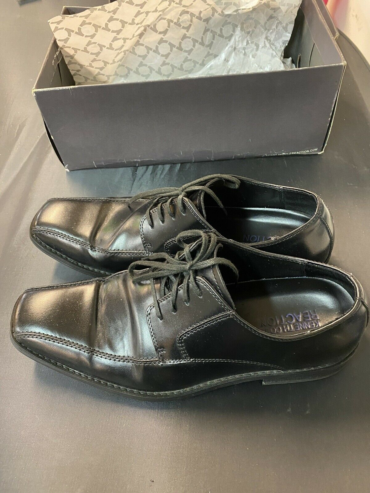 Kenneth Cole Reaction Rise To Fame Men Leather Bicycle Toe Oxfords US 10.5 Black
