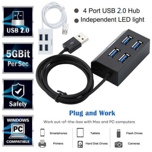 Ultra Slim 4Port USB 2.0 Data Hub High Speed Transfer up to 5 Gbps For PC Laptop