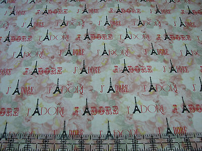 1 Yards Quilt Cotton Fabric - Timeless Treasures Paris Eiffel Tower J'Adore Rose