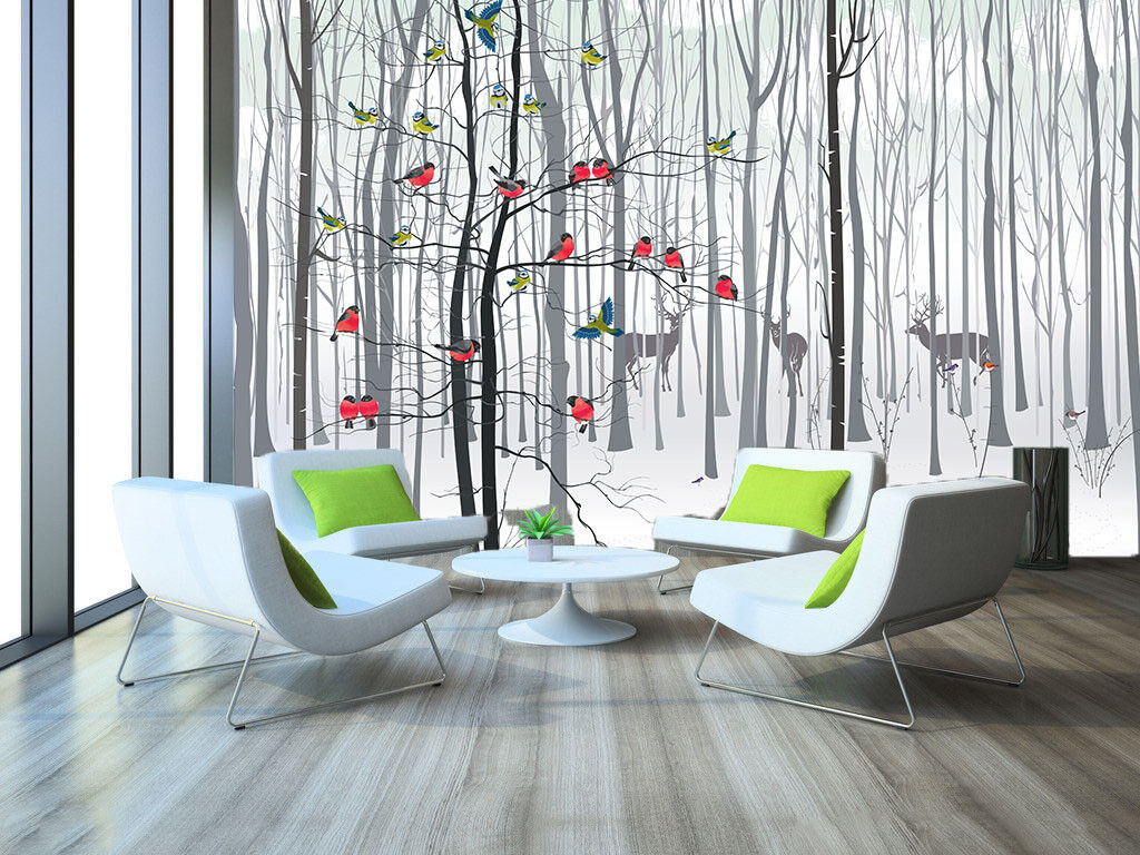 3D Birds Snow Forest 5 Wall Paper Wall Print Decal Wall Deco Indoor Wall Murals
