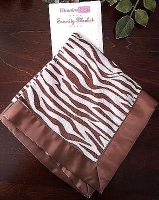 Vitamin Baby Girl Lovey Security Blanket Pink Brown Zebra Animal Print Satin NWT