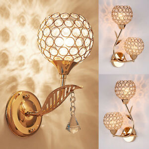 Modern LED Crystal Wall Lamp Sconce Light Bulb Bedroom Bedside Hallway Lighting
