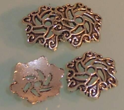 ♥ perles bouchons extrémités grand argent 10x11mm 4 pcs ♥ z039