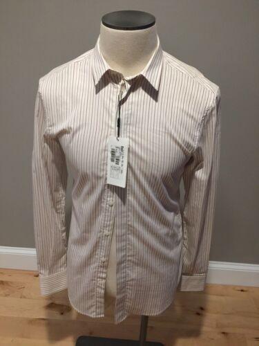 Gabbana 249 48 rayas Camisa de con algodón slim Dolce de de corte vestir Nwt blancas qEw6pdq
