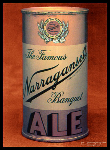 """Famous Narragansett Ale 1954 Canvas Art Poster 18/""""x 24/"""" Beer Cans"""