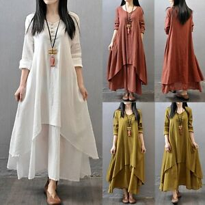 Vintage-Tops-Kaftan-Women-039-s-Loose-Long-Sleeve-Cotton-Linen-A-Line-Maxi-Dress-NEW