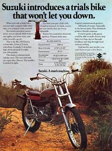1974 Suzuki Rl 250 Exacta Sales Specs Ad Trials Bike Ebay