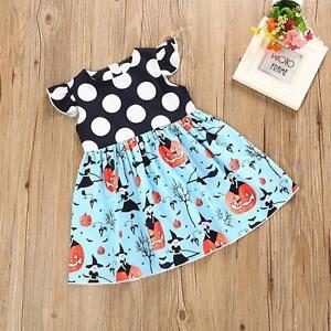 Toddler-Kids-Summer-Baby-Girls-Halloween-Pumpkin-Cartoon-Princess-Dress-Clothes
