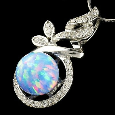 Alducchi Sky Blue Rainbow Fire Lab Opal .925 Sterling Silver Pendant necklace