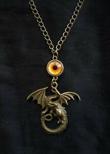 Bronze Antique Gold Dragon Eye Pendant Necklace, LOTR, Steampunk Gothic Magic!
