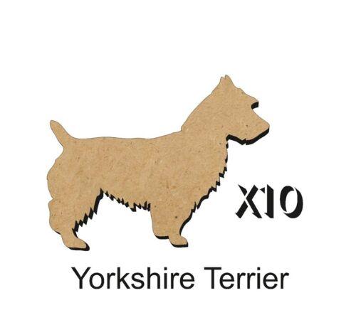 MDF Shape Dog 10 Yorkshire Terrier MDF cutouts keyring 5 Sizes FREE Hole DOGW009